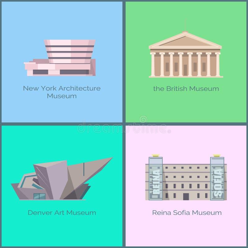 Nowy Jork architektury muzeum, Brytyjski Denver sztuka ilustracja wektor