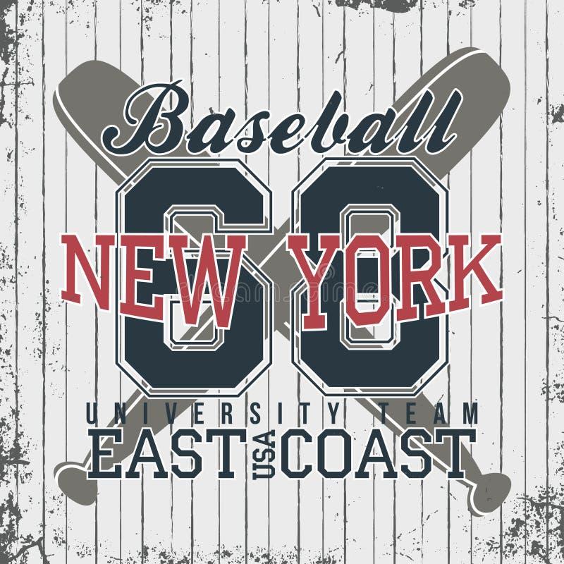 Nowy Jork, baseballa sportswear emblemat Baseball odzieży projekt z literowaniem Koszulek grafika ilustracja wektor