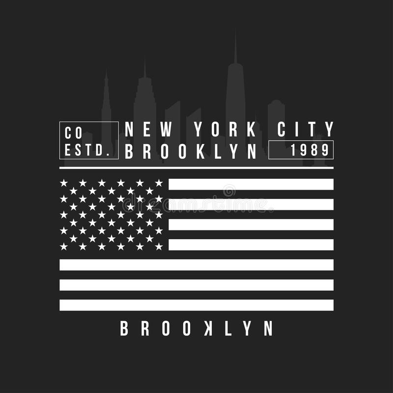 Nowy Jork, Brooklyn typografia dla koszulka druku Miasto Nowy Jork linia horyzontu dla trójnik grafiki tła czerń zakończenia proj royalty ilustracja