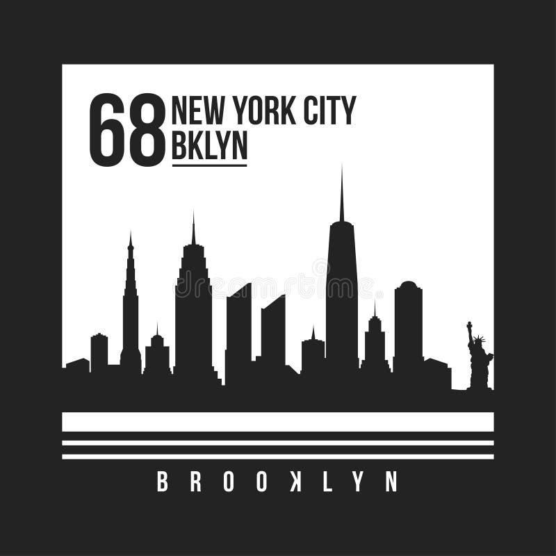 Nowy Jork, Brooklyn typografia dla koszulka druku Miasto Nowy Jork linia horyzontu dla trójnik grafiki tła czerń zakończenia proj ilustracji