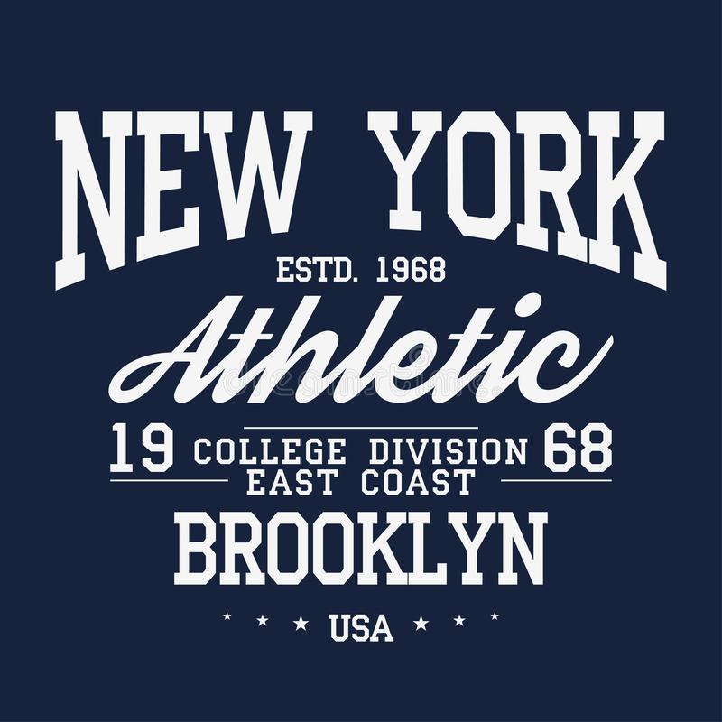 Nowy Jork, Brooklyn typografia, odznaka dla koszulka druku Uniwerek koszulki stylowe grafika royalty ilustracja