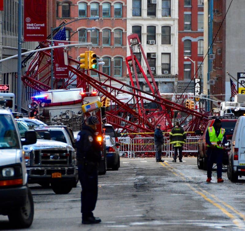 Nowy Jork dźwigowy zawalenie się zdjęcie royalty free