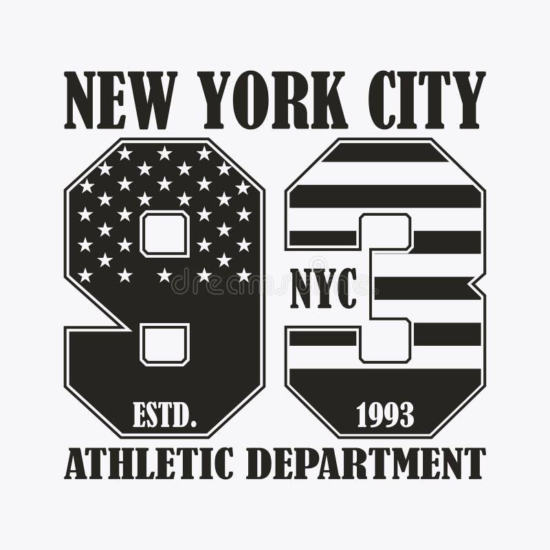 Nowy Jork druk z liczbą w usa flaga stylu Projektów ubrania, znaczek dla koszulki, sportowa odzieży grafika wektor royalty ilustracja