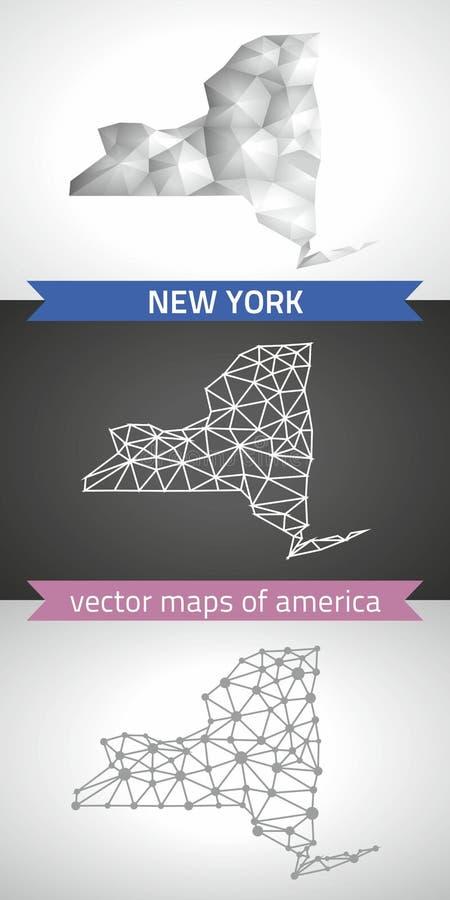 Nowy Jork kolekcja wektorowego projekta map, szarej, czarnej i srebnej kropka konturu mozaiki 3d mapa nowożytna, ilustracja wektor