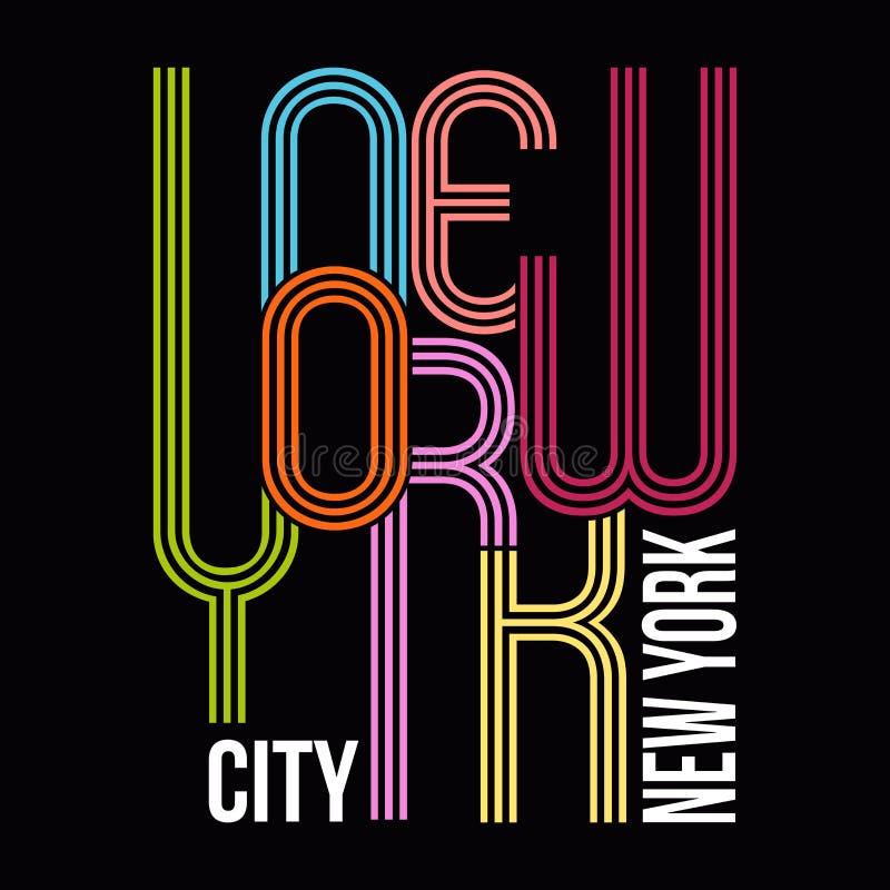 Nowy Jork, koszulki typografii grafika, wektor ilustracja wektor