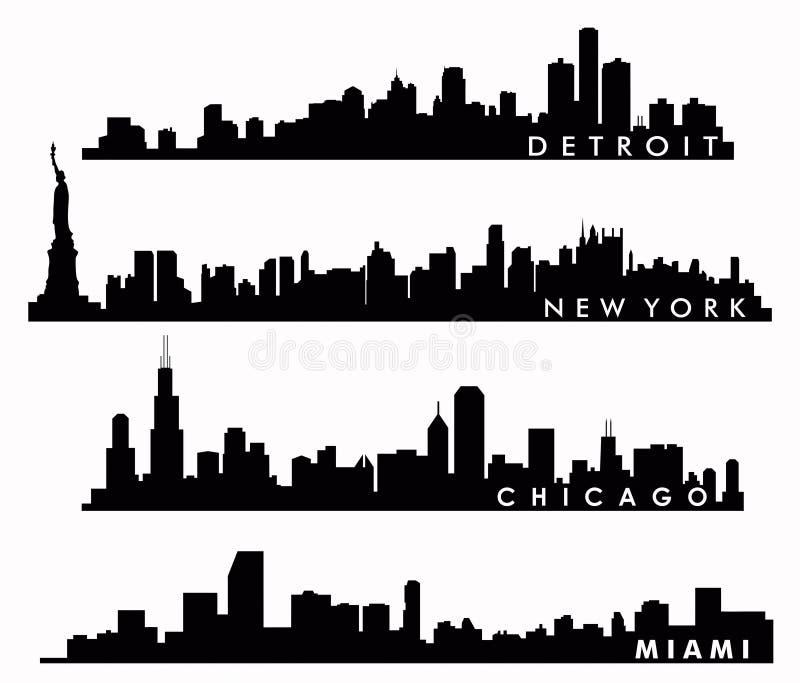 Nowy Jork linia horyzontu, Chicagowska linia horyzontu, Miami linia horyzontu, Detroit linia horyzontu royalty ilustracja
