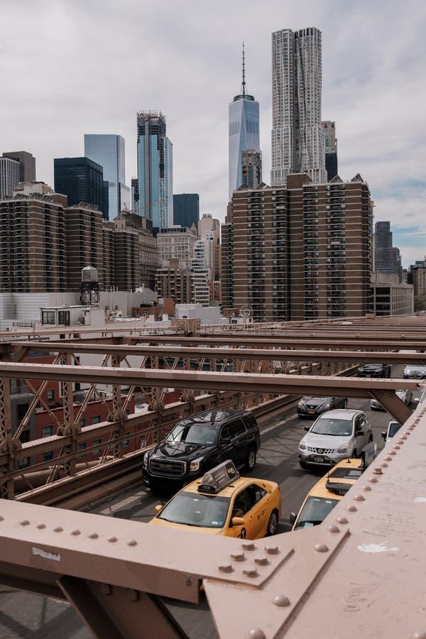 Nowy Jork linia horyzontu Manhattan i most brooklyński fotografia stock