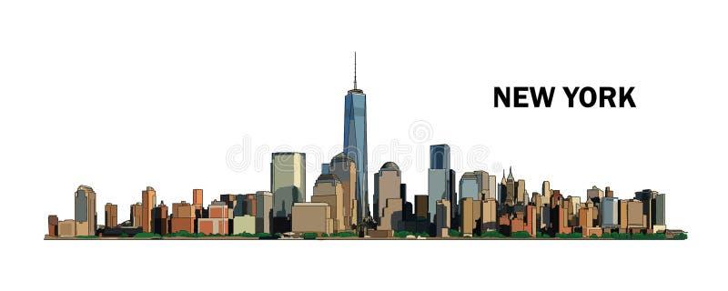 Nowy Jork linia horyzontu, wektorowa kolorowa ilustracja ilustracja wektor