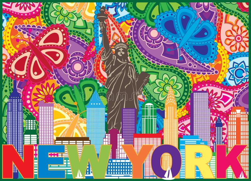 Nowy Jork linii horyzontu teksta Paisley wzoru koloru ilustracja ilustracji