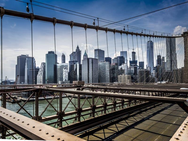Nowy Jork Manhattan linia horyzontu od mosta brooklyńskiego zdjęcia royalty free
