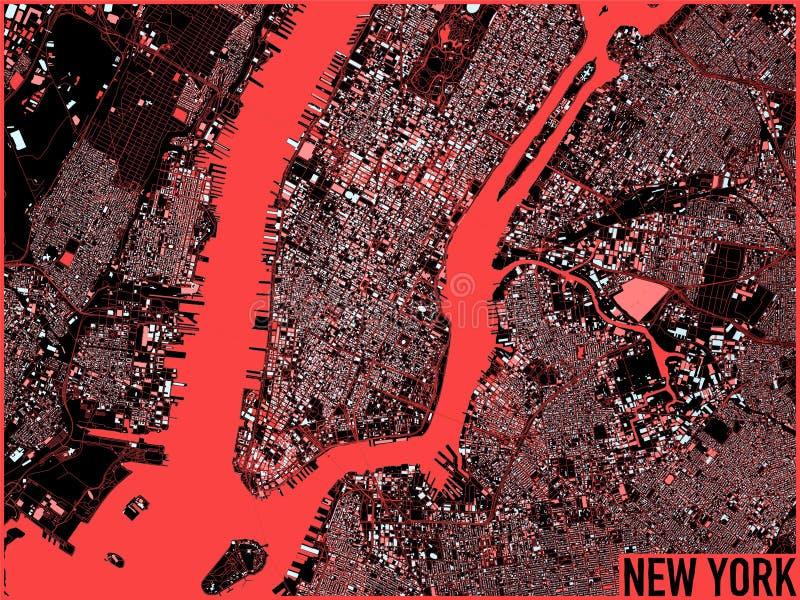 Nowy Jork mapa, satelitarny widok, Stany Zjednoczone ilustracja wektor