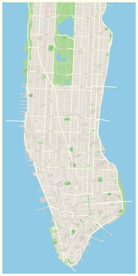 Nowy Jork mapy - Niski i W połowie Manhattan
