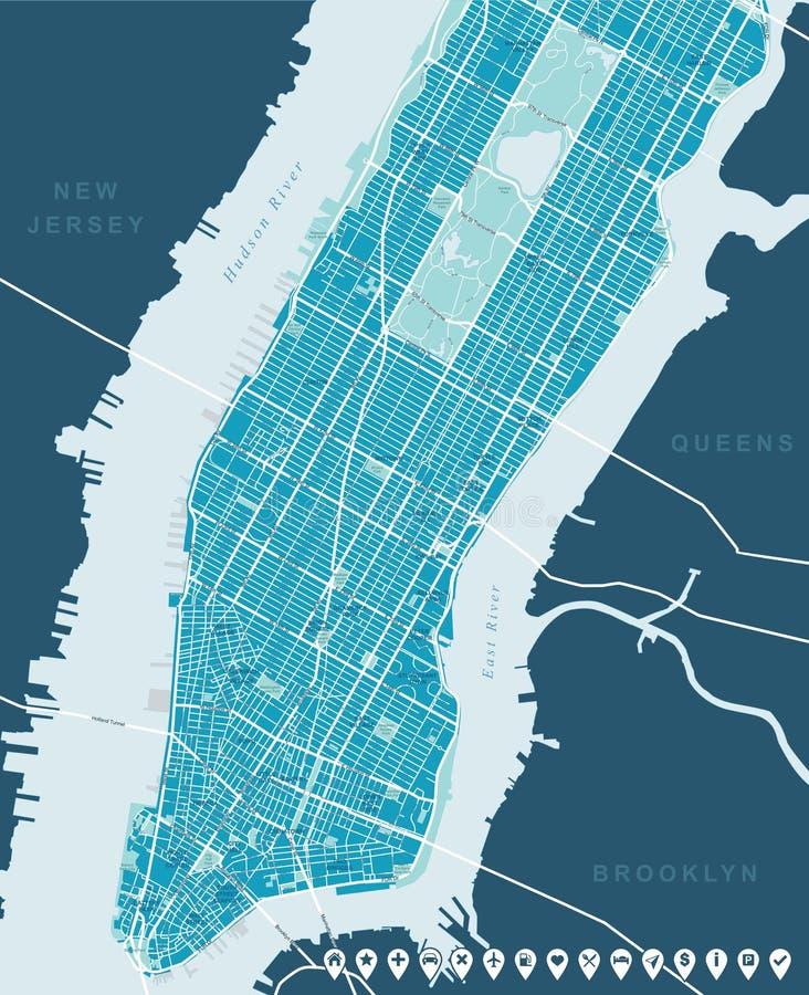 Nowy Jork mapy - Niski i W połowie Manhattan ilustracja wektor