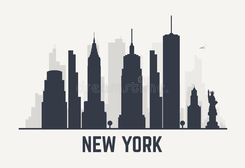 Nowy Jork miasta linie ilustracji