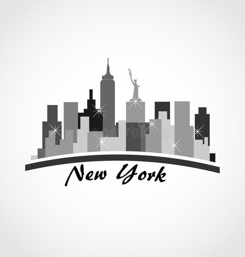 Nowy Jork miasta linii horyzontu budynków logo ilustracja wektor