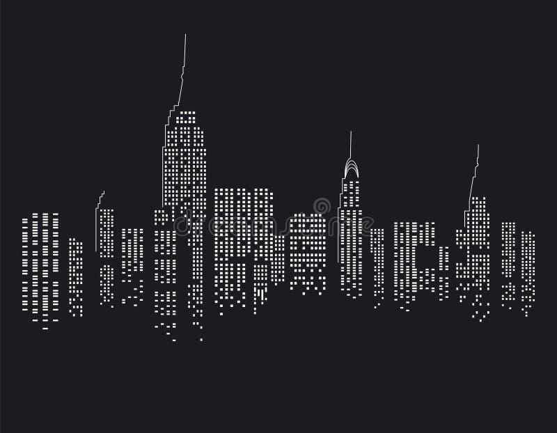 Nowy Jork miasto przy nocą ilustracja wektor