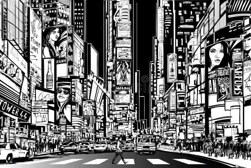 Nowy Jork miasto przy nocą royalty ilustracja