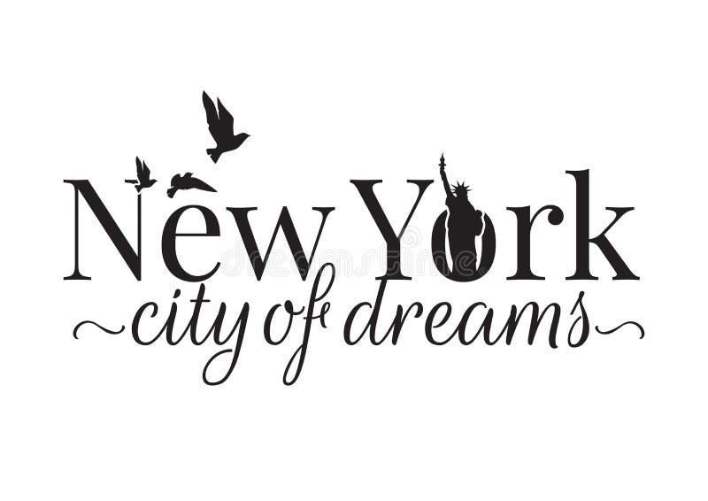 Nowy Jork miasto sen, Formułuje projekt, Ścienni Decals, statua wolności royalty ilustracja