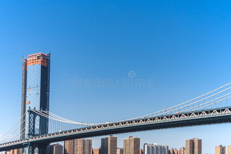 Nowy Jork, most brooklyński, lower manhattan, usa obraz royalty free