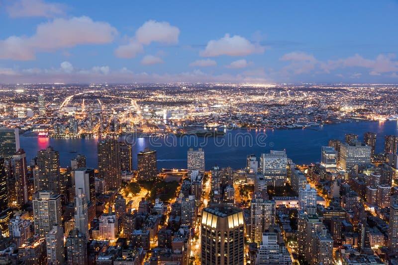 Nowy Jork nocą od empire state building obraz stock