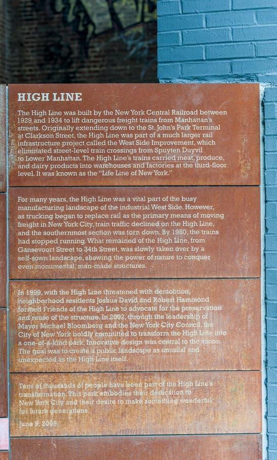 NOWY JORK NOWY JORK, GRUDZIEŃ, - 30, 2013: Wejście Wysoka linia w Nowy Jork, Manhattan Wysokiej linii opowieść zdjęcia royalty free
