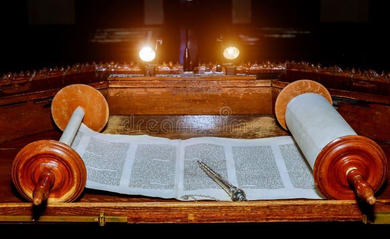NOWY JORK NY Marzec 2019 Żydowski Torah ślimacznicy książki stary pergamin fotografia royalty free