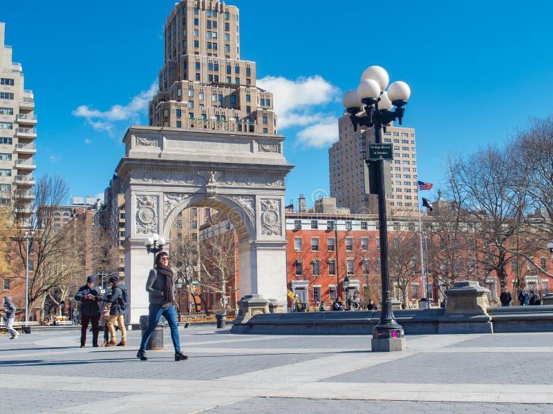 Nowy Jork, NY/United States-=Feb 22, 2016: Zima przy Waszyngton obraz stock