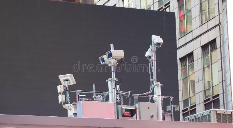Nowy Jork, NY, usa Milicyjny wideo system obserwacji w centrum miasta Kamery które kontrolują najwięcej wrażliwych obszarów miast zdjęcia stock