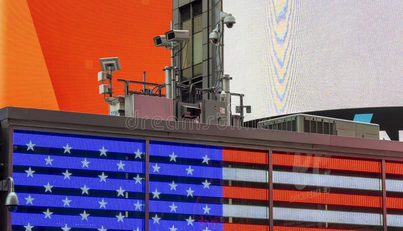 Nowy Jork, NY, usa Milicyjny wideo system obserwacji w centrum miasta Kamery które kontrolują najwięcej wrażliwych obszarów miast zdjęcie royalty free