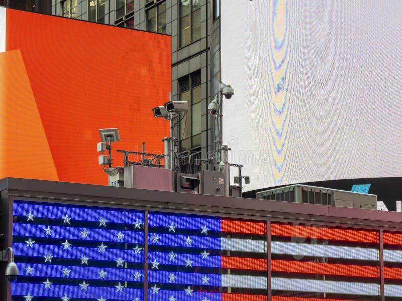 Nowy Jork, NY, usa Milicyjny wideo system obserwacji w centrum miasta Kamery które kontrolują najwięcej wrażliwych obszarów miast obraz royalty free