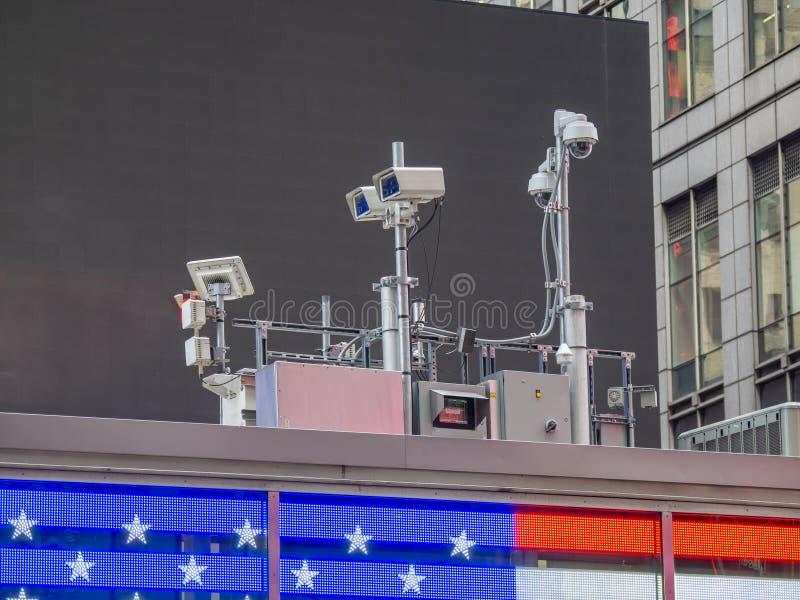 Nowy Jork, NY, usa Milicyjny wideo system obserwacji w centrum miasta Kamery które kontrolują najwięcej wrażliwych obszarów miast zdjęcie stock