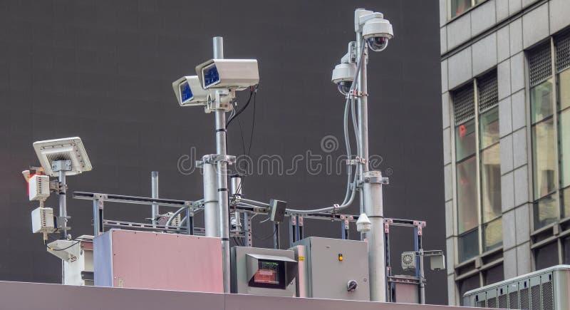 Nowy Jork, NY, usa Milicyjny wideo system obserwacji w centrum miasta Kamery które kontrolują najwięcej wrażliwych obszarów miast fotografia stock