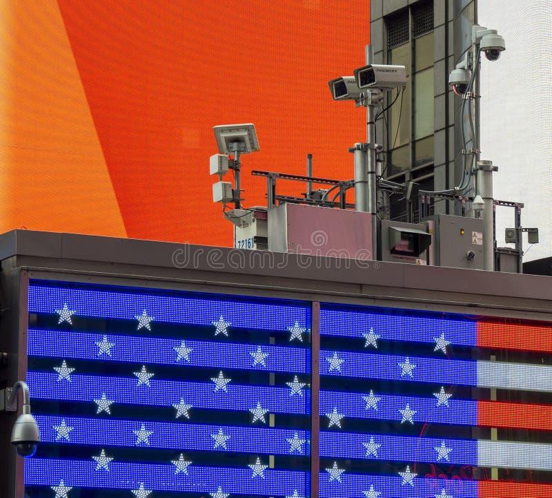 Nowy Jork, NY, usa Milicyjny wideo system obserwacji w centrum miasta Kamery które kontrolują najwięcej wrażliwych obszarów miast zdjęcia royalty free