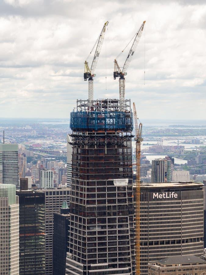 Nowy Jork, NY, usa Nowi drapacze chmur w budowie Budowa z żurawiami, windami i rusztowaniem, zdjęcia royalty free