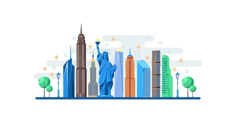 Nowy Jork pejzaż miejski z sławnymi turystycznymi punktami zwrotnymi Wektorowa płaska ilustracja Podróż usa sztandaru horyzontaln royalty ilustracja