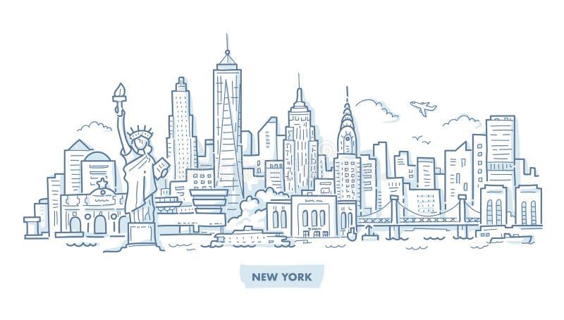 Nowy Jork pejzażu miejskiego Doodle ilustracja wektor