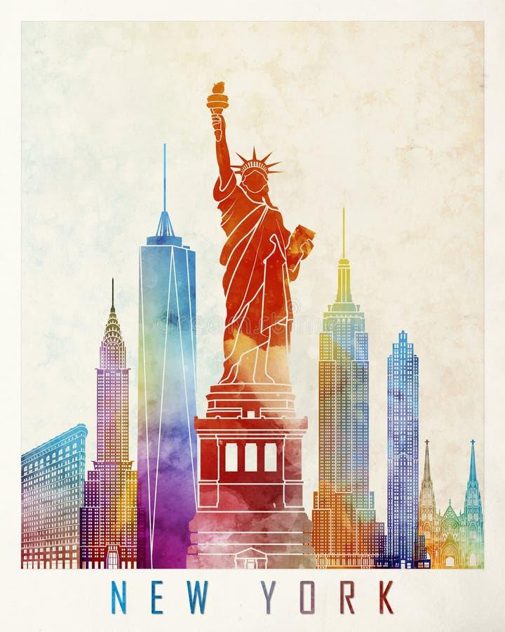 Nowy Jork punktów zwrotnych akwarela ilustracja wektor