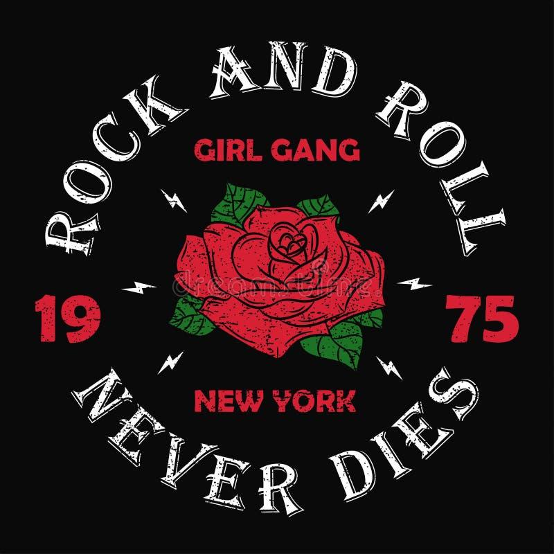 Nowy Jork rock and roll dziewczyny gang - grunge typografia dla koszulki, kobiety odziewa Fasonuje druk dla odzieży z różanym i s ilustracji