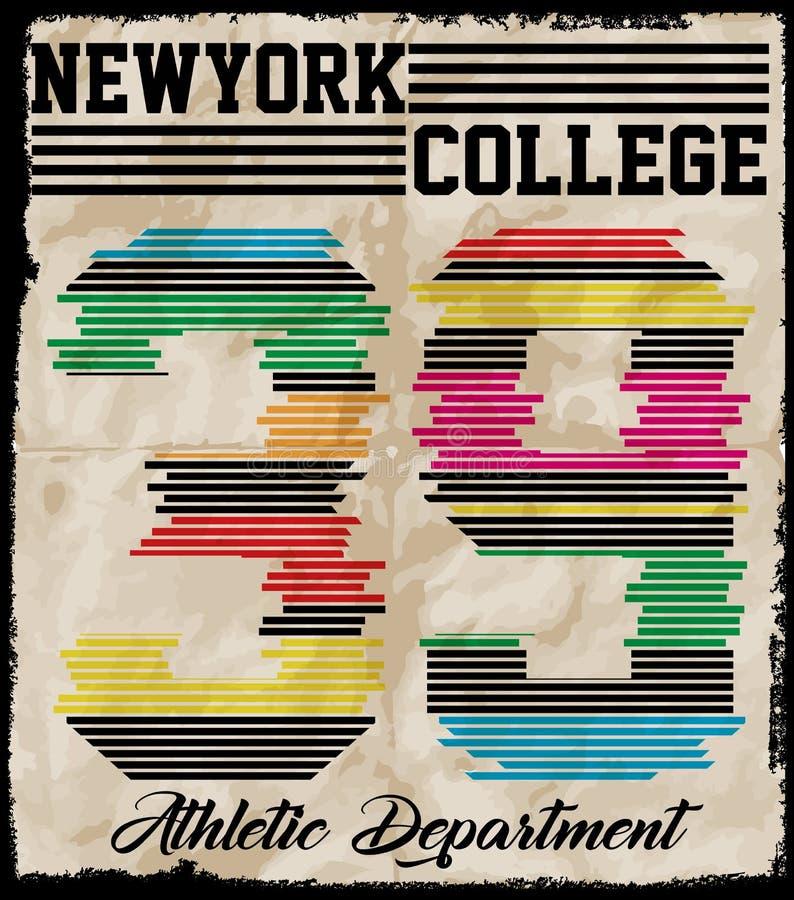 Nowy Jork sporta odzieży typografii emblemat, futbol amerykański, rocznik ilustracja wektor