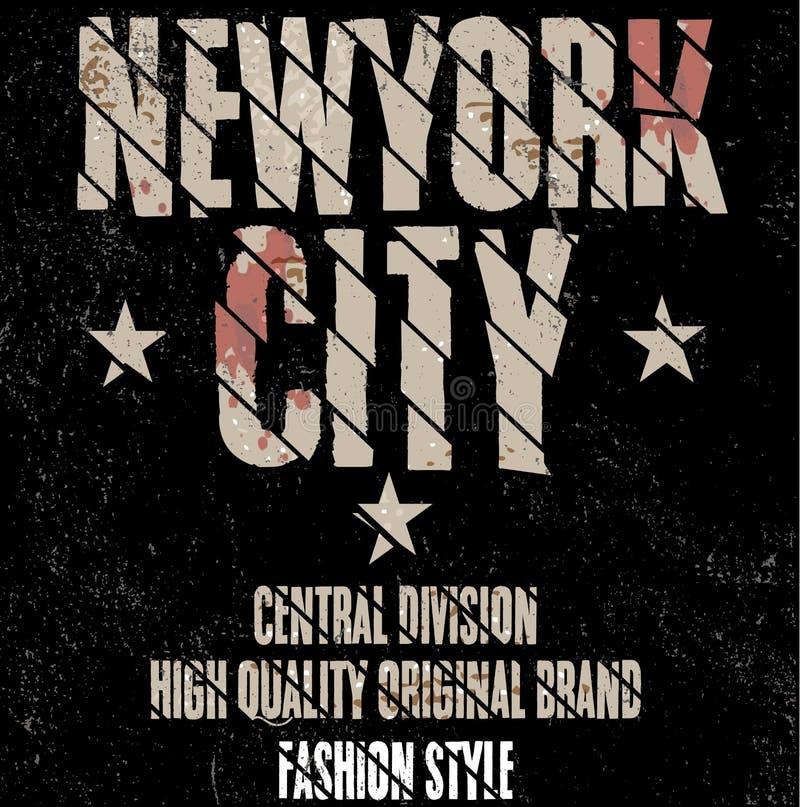 Nowy Jork sporta odzieży typografii emblemat, koszulek stemplowe grafika, v royalty ilustracja