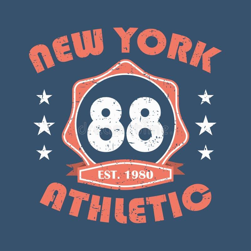 nowy Jork Sportswear typografii druk, koszulek stemplowe grafika, sportowy odzież projekt wektor royalty ilustracja