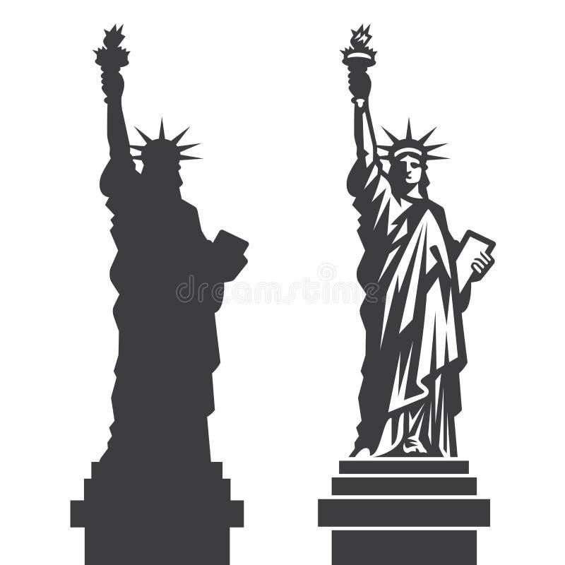 Nowy Jork statuy wolności wektoru sylwetka ilustracji