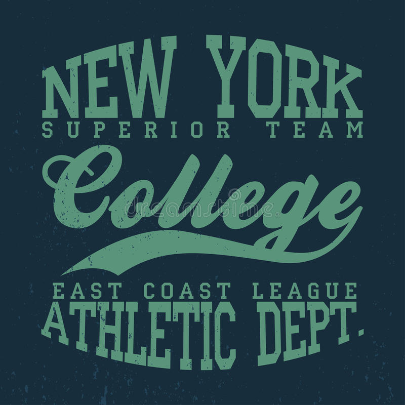 Nowy Jork, szkoły wyższa koszulki grafika Rocznik drelichowa typografia z grunge ilustracji