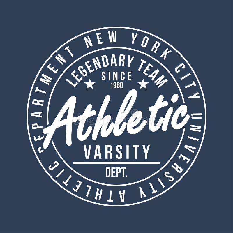 Nowy Jork typografia dla koszulka druku Sportowa grafika dla koszulki Uniwerku styl ilustracja wektor
