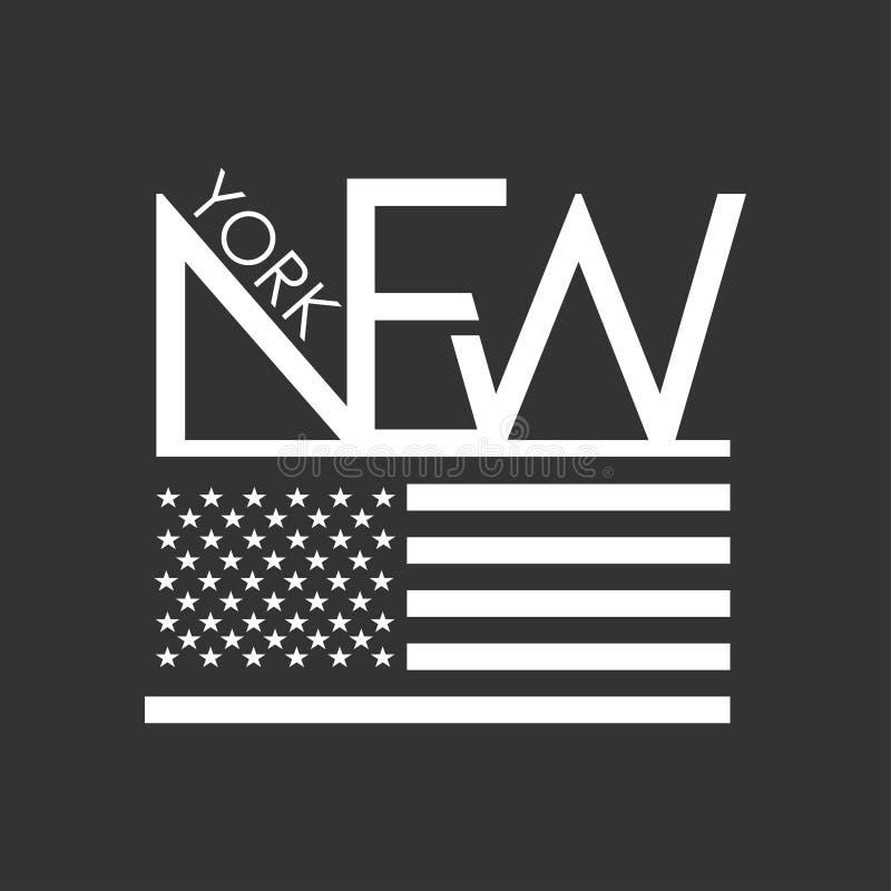 Nowy Jork typografia dla koszulka druku USA flaga na Czarnym tle Koszulek grafika ilustracja wektor
