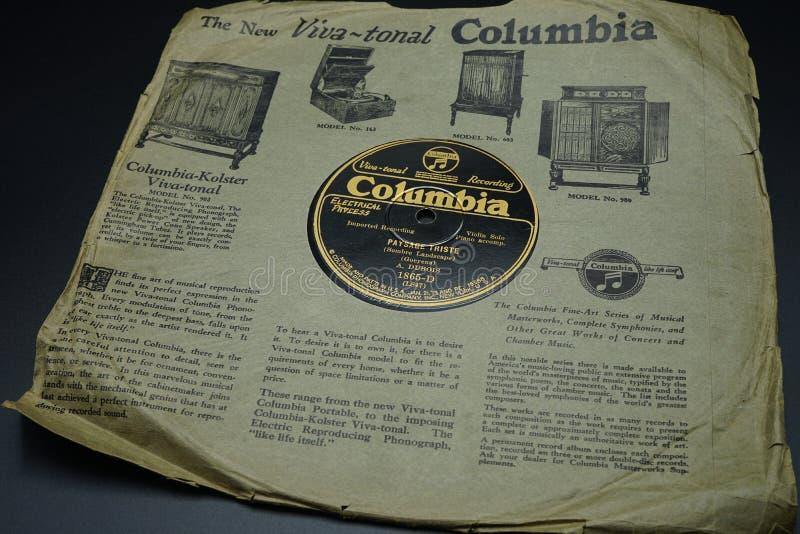 Nowy Jork, U S A, Styczeń 21, 1913: 78 rpm nagrywają Kolumbia, Kolumbia Fonograf Firma, INC , Nowy Jork zdjęcie stock