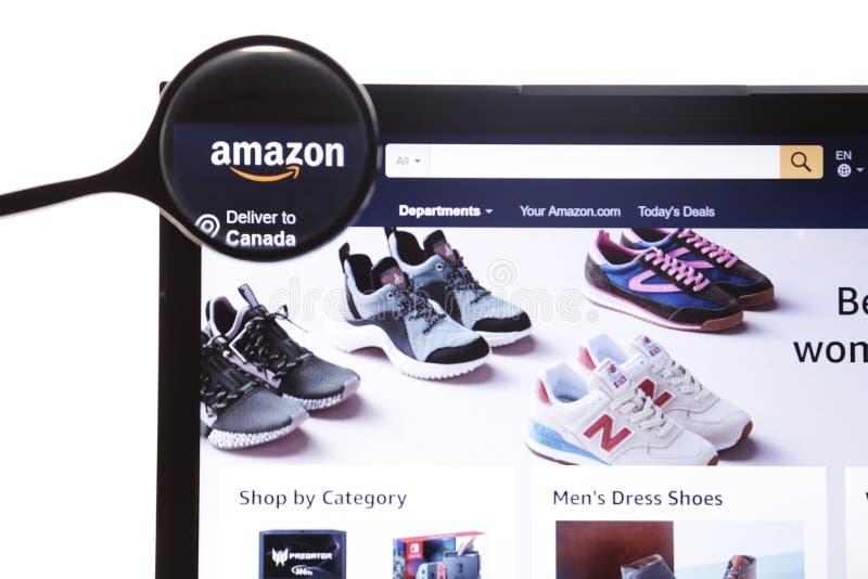 Nowy Jork, usa - Marzec 25, 2019: Amazonki strony internetowej homepage Ja jest Ameryka?skim firm? amazon com logo widoczny fotografia royalty free