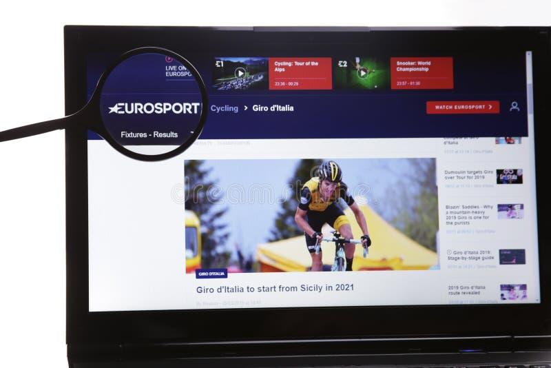 Nowy Jork, usa - Marzec 25, 2019: Illustrative Redakcyjna strona internetowa widoczna na pokazu ekranie EuroSport logo zdjęcia royalty free