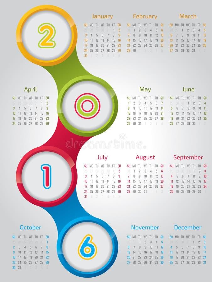 Nowy 2016 kalendarz z błyszczącymi okręgami ilustracja wektor