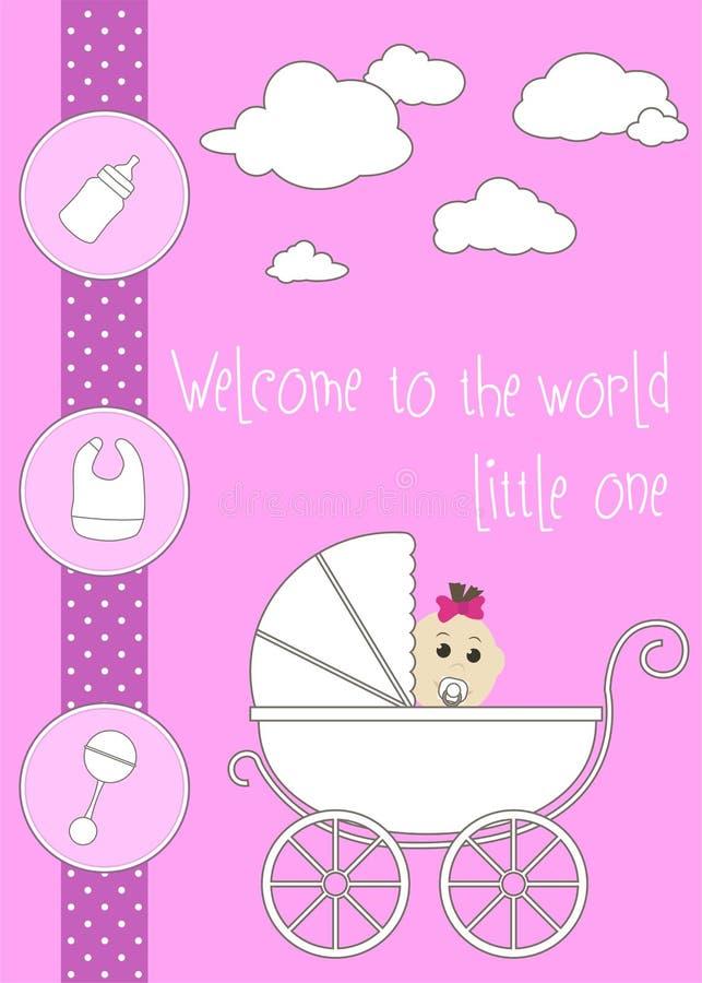 nowy karciany dziecka powitanie dziecka butelki dziewczyna fotografia stock